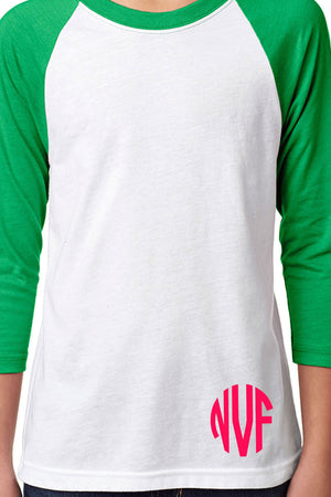 Next Level Youth 3/4 Sleeve Raglan, Kelly/White *Personalize It