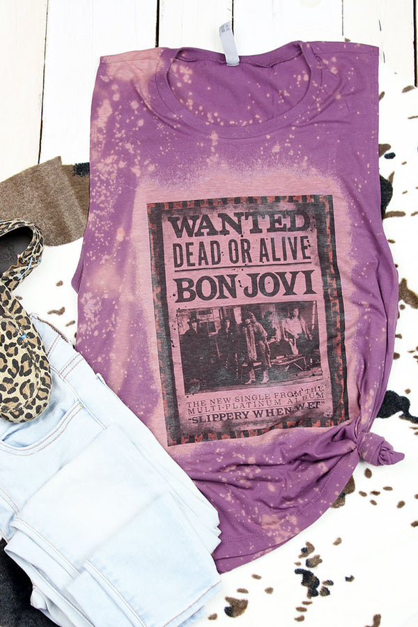 Bleached Wanted Dead Or Alive Women's Festival Muscle Tank