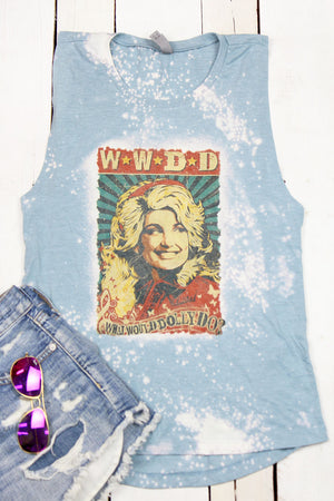 Bleached Vintage What Would Dolly Do Women's Festival Muscle Tank