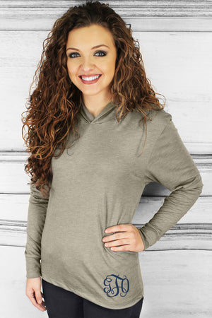 Tri-Blend Unisex Long Sleeve Hoody, Venetian Gray #NL6021 *Personalize It!