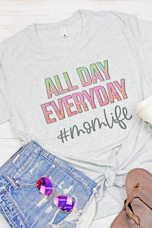 All Day Every Day #momlife Tri-Blend V Neck Tee
