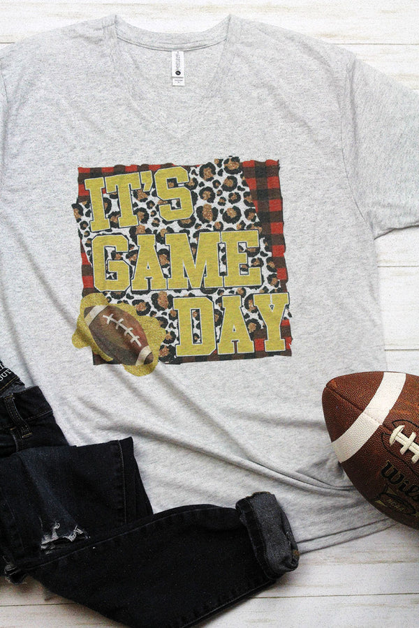 It's Game Day Leopard Tri-Blend V Neck Tee