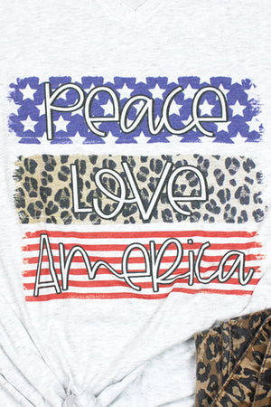 Peace Love America Tri-Blend V Neck Tee