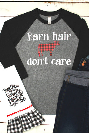 Plaid Barn Hair Don't Care Tri-Blend Unisex 3/4 Raglan