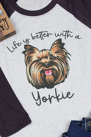 Yorkie Life Is Better Tri-Blend Unisex 3/4 Raglan