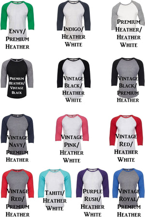 Humble and Kind Tri-Blend Unisex 3/4 Raglan #NL6051 *Choose Your Color
