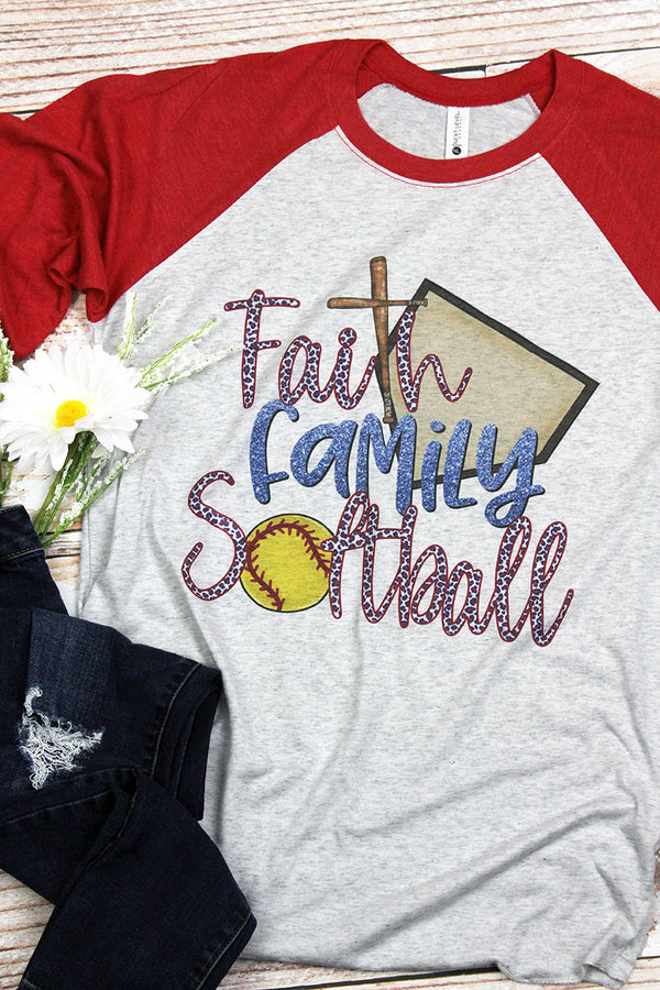 Faith Family Softball Tri-Blend Unisex 3/4 Raglan