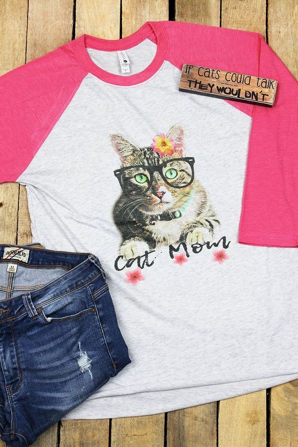 Floral Cat Mom Tri-Blend Unisex 3/4 Raglan