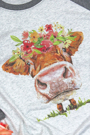 Flower Child Cow Tri-Blend Unisex 3/4 Raglan