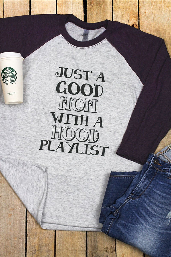 Good Mom Hood Playlist Tri-Blend Unisex 3/4 Raglan