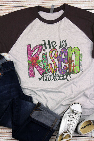 He Is Risen Indeed Tri-Blend Unisex 3/4 Raglan