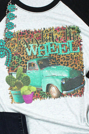 Leopard Jesus Take The Wheel Tri-Blend Unisex 3/4 Raglan