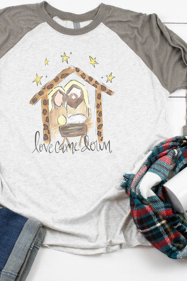 Love Came Down Manger Tri-Blend Unisex 3/4 Raglan