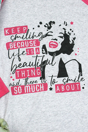 Marilyn Keep Smiling Tri-Blend Unisex 3/4 Raglan