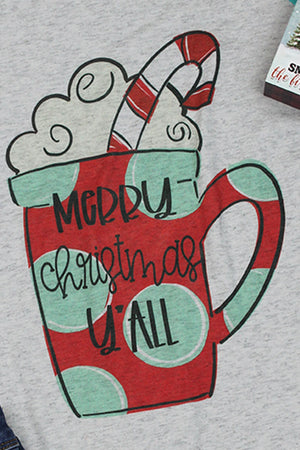 Polka Dot Merry Christmas Y'all Tri-Blend Unisex 3/4 Raglan