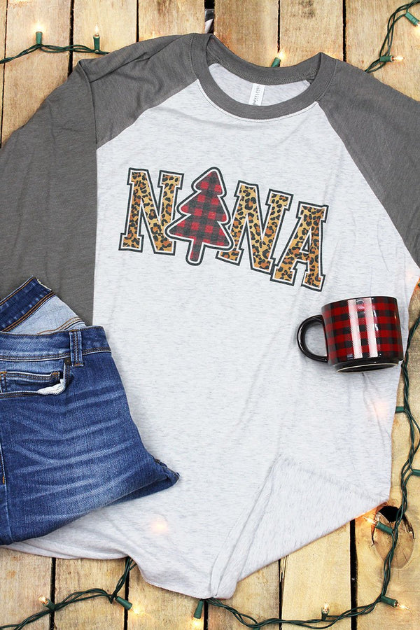Plaid Christmas Nana Tri-Blend Unisex 3/4 Raglan