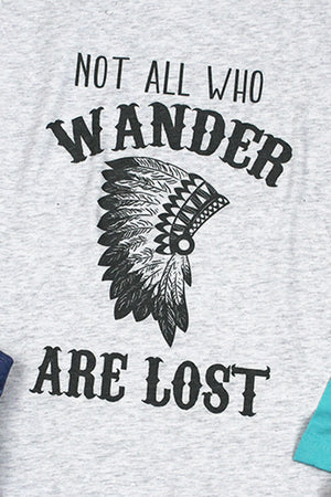 Wander Are Lost Headdress Tri-Blend Unisex 3/4 Raglan
