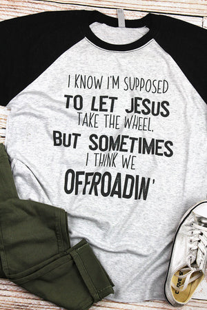 Off Roadin' With Jesus Tri-Blend Unisex 3/4 Raglan