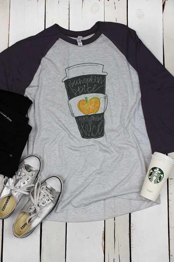 Pumpkin Spice & Everything Nice Cup Tri-Blend Unisex 3/4 Raglan