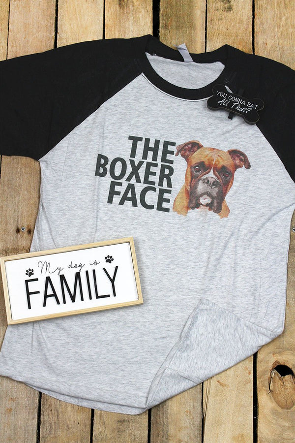 The Boxer Face Tri-Blend Unisex 3/4 Raglan