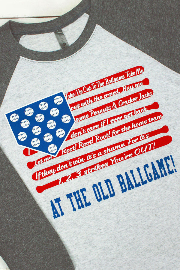 Take Me Out To The Ballgame Tri-Blend Unisex 3/4 Raglan #NL6051 (PLEASE ALLOW 3-5 BUSINESS DAYS. EXPEDITED SHIPPING N/A)