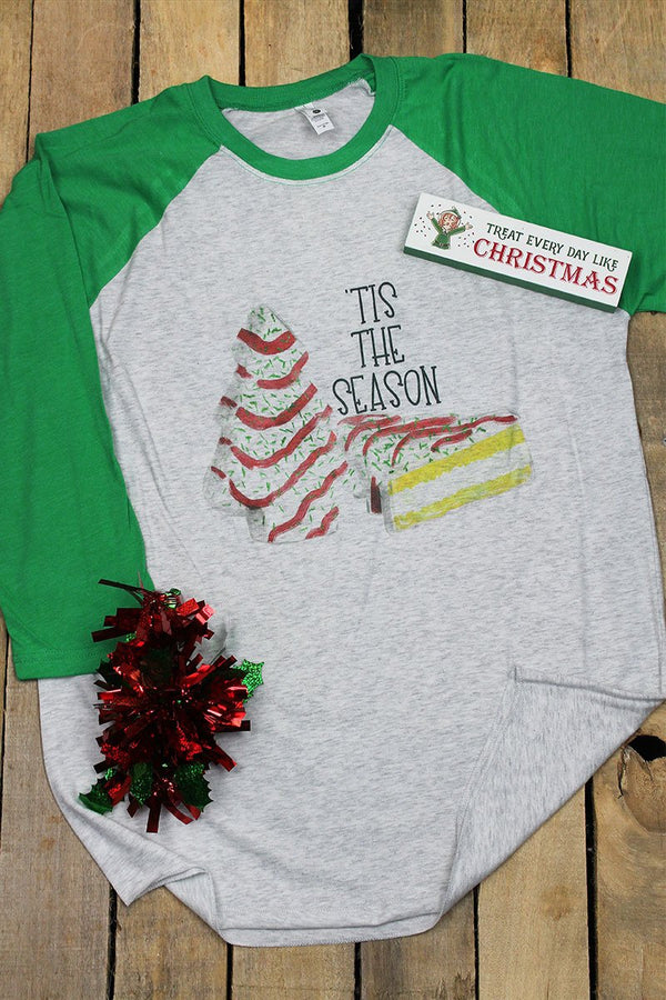 Tis The Season Christmas Cake Tri-Blend Unisex 3/4 Raglan