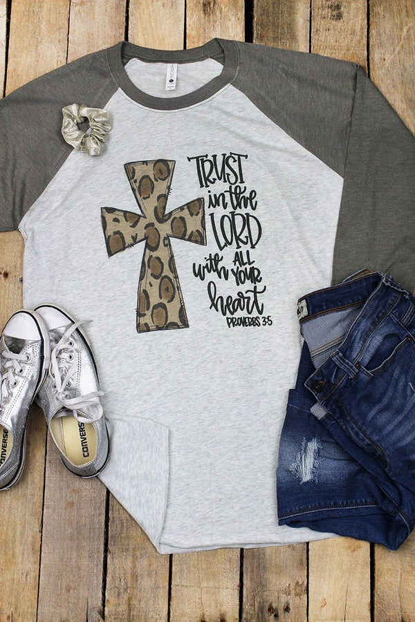 Cross Leopard Trust In The Lord Tri-Blend Unisex 3/4 Raglan