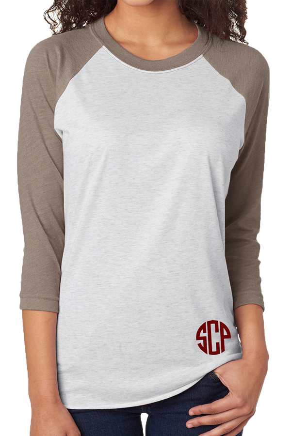 Tri-Blend Unisex 3/4 Raglan, Venetian Gray/Heather White #NL6051 *Personalize It!