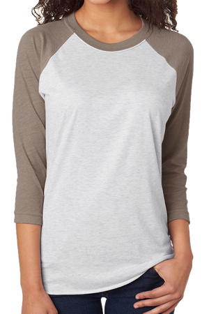 Tri-Blend Unisex 3/4 Raglan, Venetian Gray/Heather White *Personalize It!