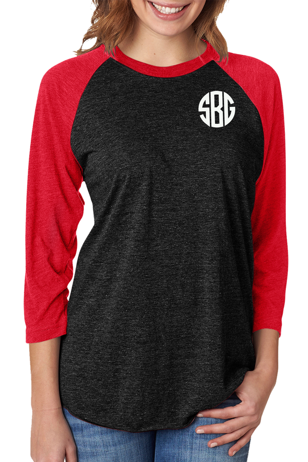 Tri-Blend Unisex 3/4 Raglan, Vintage Red/Vintage Black #NL6051 *Personalize It!