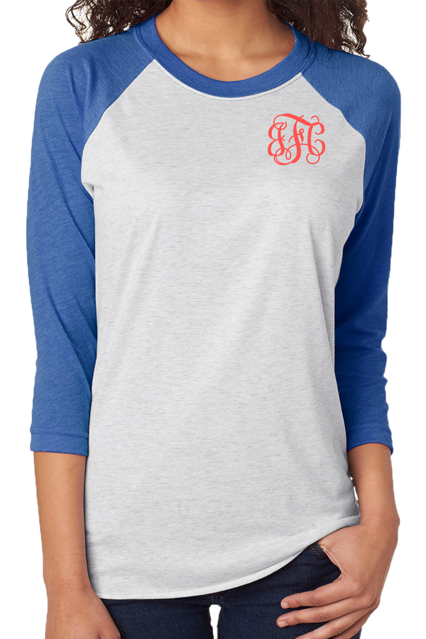 Tri-Blend Unisex 3/4 Raglan, Vintage Royal/Heather White #NL6051 *Personalize It!