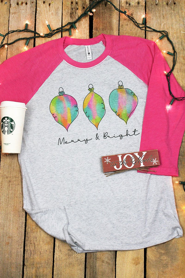 Watercolor Merry & Bright Tri-Blend Unisex 3/4 Raglan