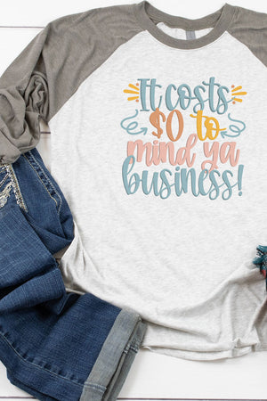 Mind Ya Business Tri-Blend Unisex 3/4 Raglan