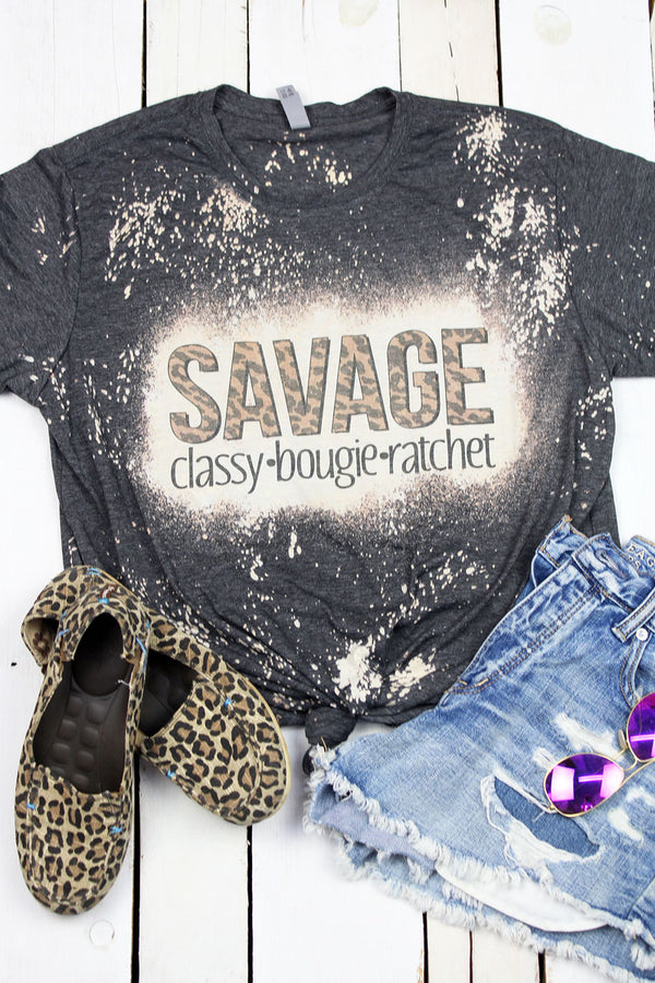 Bleached Savage Camo Poly/Cotton Tee