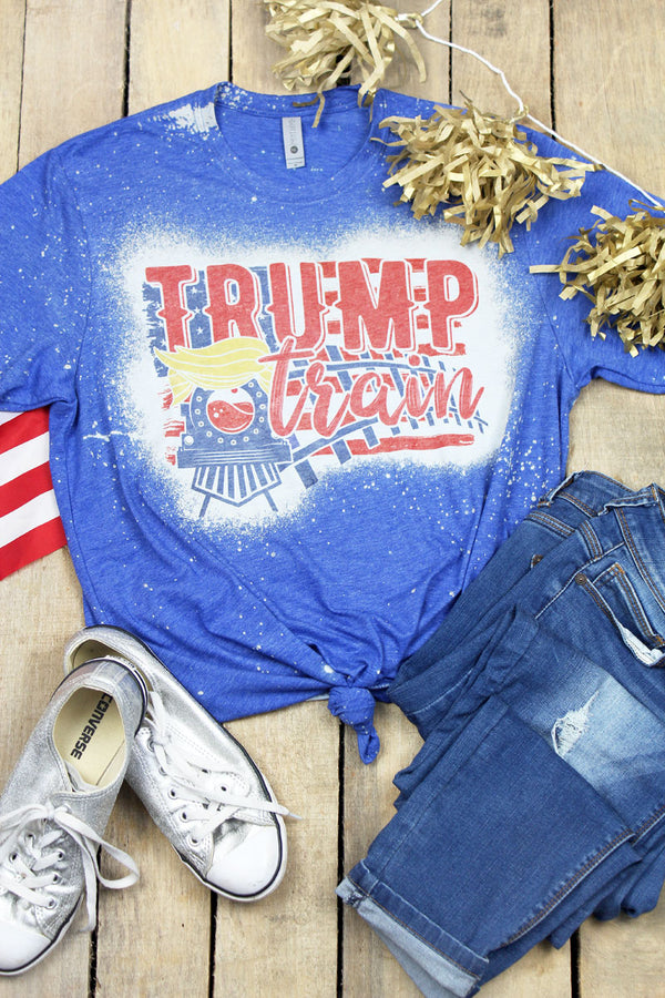 Bleached Trump Train Tracks Poly/Cotton Tee