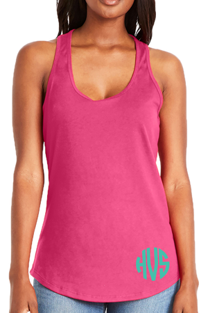 Next Level Womens Gathered Racerback Tank, Hot Pink #NL6338 *Personalize It!