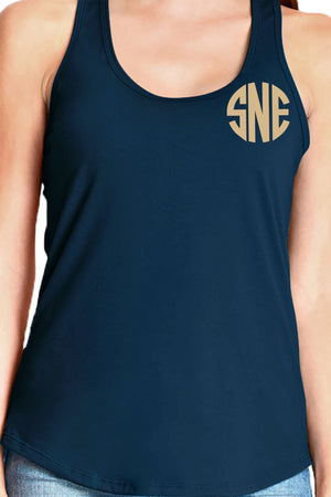 Next Level Womens Gathered Racerback Tank, Midnight Navy *Personalize It!