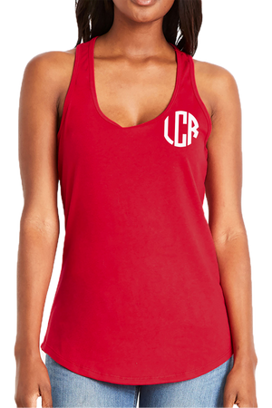 Next Level Womens Gathered Racerback Tank, Red #NL6338 *Personalize It!