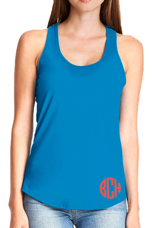 Next Level Womens Gathered Racerback Tank, Turquoise #NL6338 *Personalize It!