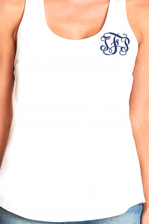Next Level Womens Gathered Racerback Tank, White *Personalize It!