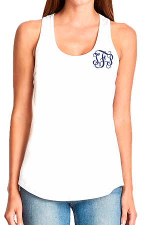 Next Level Womens Gathered Racerback Tank, White #NL6338 *Personalize It!