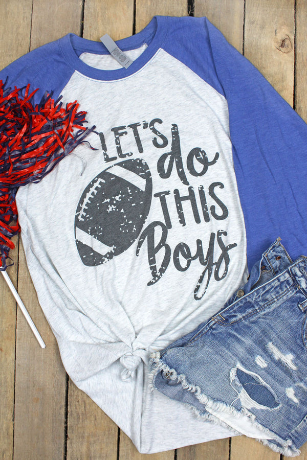 Football Let's Do This Boys Tri-Blend Unisex 3/4 Raglan