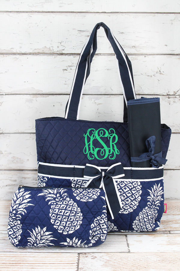 Pineapple Paradise Navy Quilted Diaper Bag