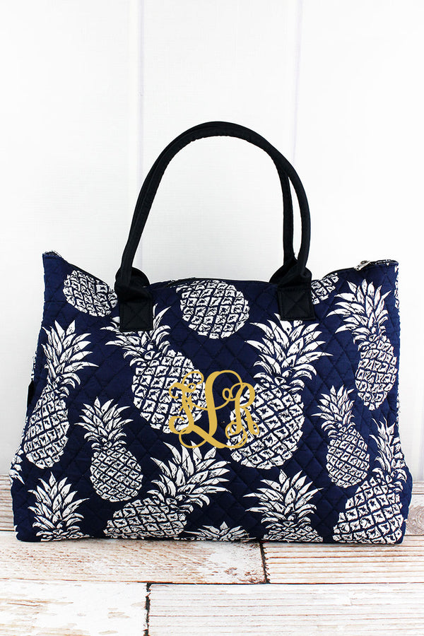 Pineapple Paradise Navy Quilted Large Shoulder Tote