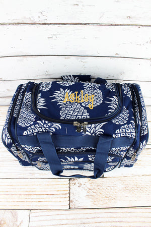 Pineapple Paradise Navy Duffle Bag 17""