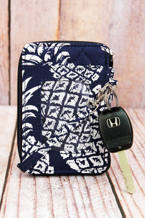 Pineapple Paradise Navy Quilted Wristlet