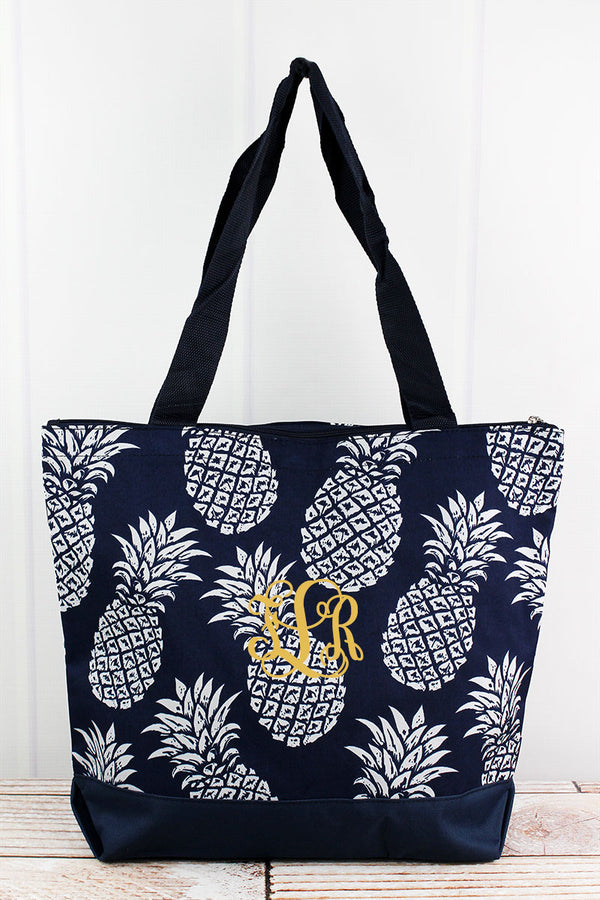 Pineapple Paradise Navy Tote Bag