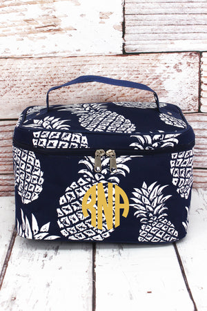 Pineapple Paradise Navy Train Case