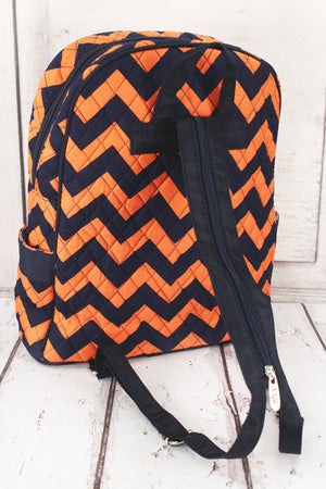 Navy and Orange Chevron Quilted Large Backpack