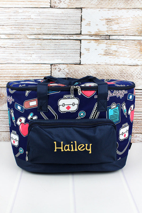 Nurse Love and Navy Cooler Tote with Lid